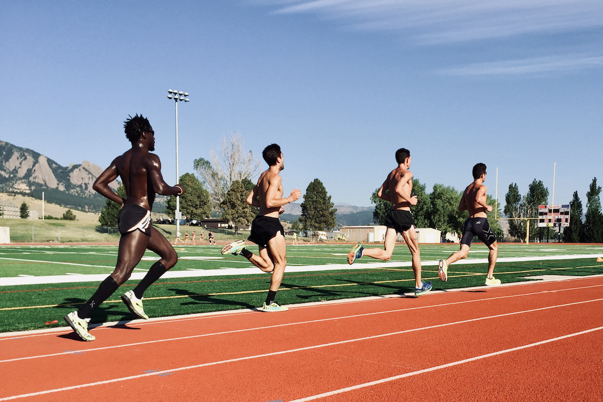 runners on an outdoor track